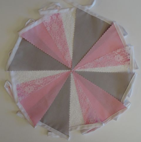 BUNTING - Light Grey, Pink and White Lace on White Tape - 3m, 5m or 10m